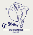 bowling club poster on grey backdrop vector image