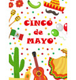 cinco de mayo greeting card template for flyer vector image