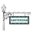 Amsterdam retro vintage pointer lamppost vector image