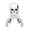 skull gun tattoo face design vector image