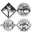 Vintage meat store emblems vector image
