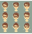 Different sunglasses suitable for women faces type vector image