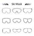 Ski goggles outline set icon vector image