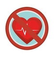 prohibited sign heart care isolated icon vector image