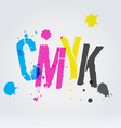 Cmyk letters in paint splashes vector