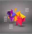multicolored 3d triangles abstraction element vector image