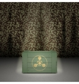Army background with wooden box vector image