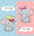 baby shower greeting card with elephants vector image