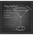 Cocktail Mary Pickford on black board vector image