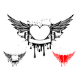 wings and heart vector image vector image