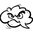 black and white angry freehand drawn cartoon cloud vector image