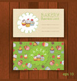 bakery business card with cupcakes vector image