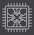 chip line icon circuit board and cpu vector image