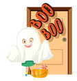 halloween theme with trick or treat at the door vector image