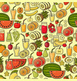 seamless pattern of hand drawn colorful vector image