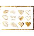 set of gold hearts abstract shiny art vector image