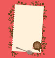 menu with sheet of paper spoon and sealing wax vector image