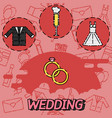 wedding flat concept icons vector image
