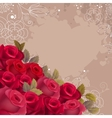 Beige background with realistic red roses vector image vector image
