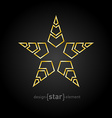 golden star with arrows on black background vector image