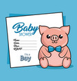 baby shower card with pig vector image