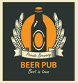 emblem for beer pub with bottle and wheat ears vector image