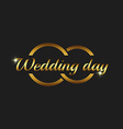 Wedding day greeting card mockup couple gold rings vector image