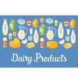 Dairy banner with natural food icons vector image