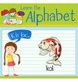 Flashcard alphabet K is for koi vector image