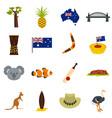 australia travel icons set in flat style vector image