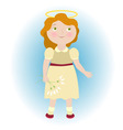 angel girl with white flower bouquet vector image