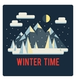 Mountains landscape winter time night vector image