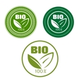 Bio labels with green leaves vector image vector image