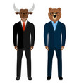 bear and bull businessmen traders vector image