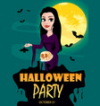 happy halloween party invitation beautiful lady vector image