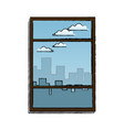 window with view building urban skyline vector image