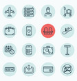set of 16 airport icons includes enter suitcase vector image