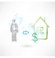 Man buying a house grunge icon vector image