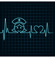 Heartbeat make nurse face and heart symbol vector image
