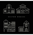 Houses Set drawn white outline on a black vector image