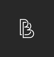 Letter B monogram logo intersection thin line vector image