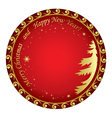 christmas card with gold decorations and tree vector image