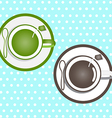 Coffee and green tea in a cup on a dot blue vector image