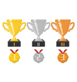 Pixel trophy cups and medals vector image
