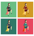 set of super hero woman flat poster in comic style vector image