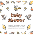 Baby shower template with cute doodle vector image