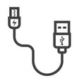 usb cable line icon connector and charger vector image