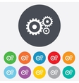 Cog settings sign icon Cogwheel gear symbol vector image