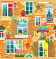 Seamless pattern with Windows and flowers in pots vector image vector image