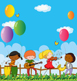 People playing musical instrument in the park vector image vector image